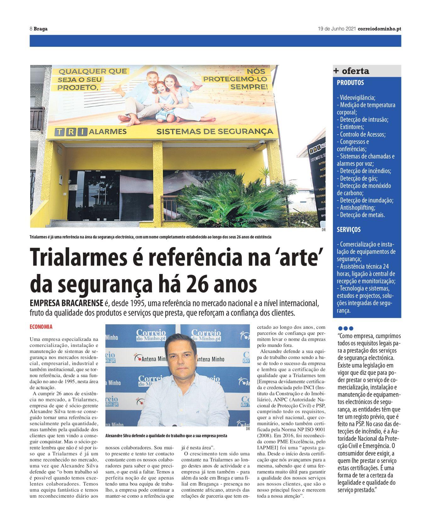 Entrevista 26 anos da Trialarmes ao Jornal Correio do Minho